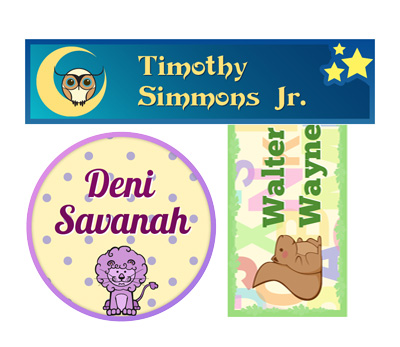 design kids name stickers and print professionally